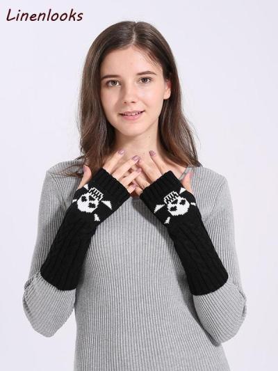 Cute Cartoon Skull Fingerless Sleeves Mittens