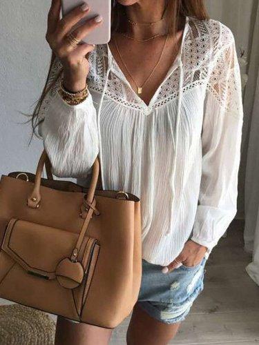 Lace cotton plus size shirt top