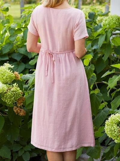 Embroidery Pockets Mini Dress Summer Plus Size Dresses