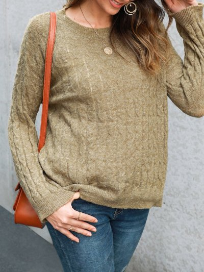 Sweet Crew Neck Knitted Knitted Sweater