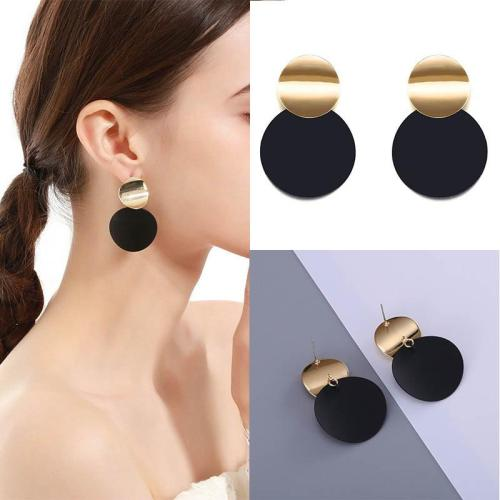 Fashion Geometric Round Stud Double Circle Earrings