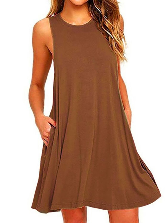 Crew Neck Sleeveless A-line Dress