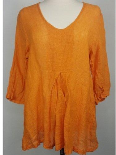 Orange Crew Neck Half Sleeve Shirts & Tops