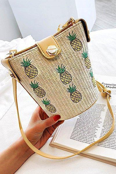 Women's Casual Zipper Woven Straw Leather Crossbody Bag