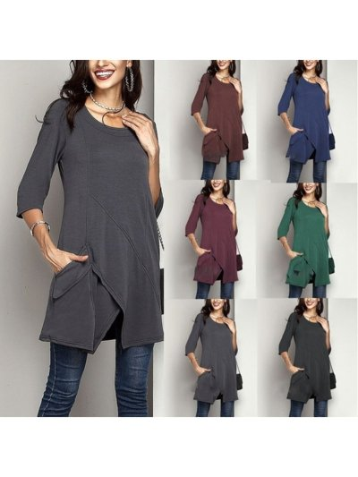 Crew Neck Cotton Casual Solid Pockets T-Shirts