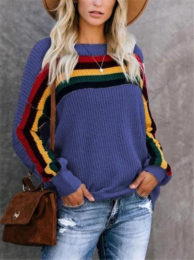 Stripes Knitted Crew Neck Long Sleeve Sweater