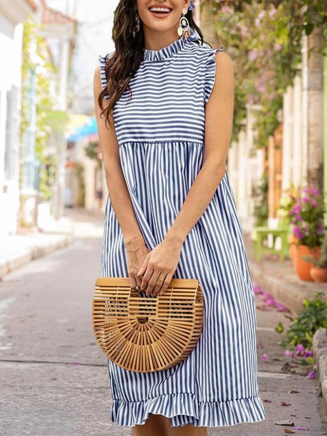 Shift Daily Casual Stripes Midi Dress