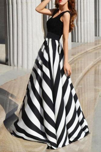 Round Collar Stripe Splicing Sleeveless Expansion Evening Dress