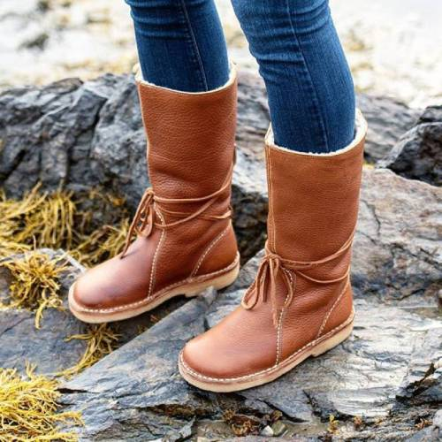 Women Casual Slip on Mid-calf Winter Boots