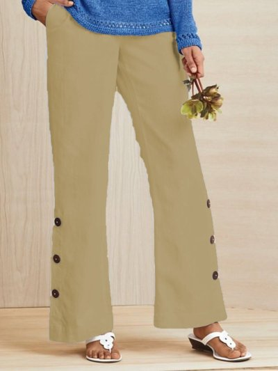 Solid Casual Buttoned Pants