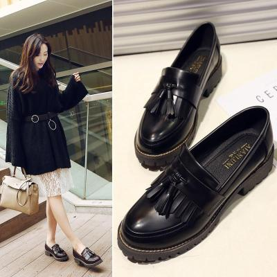 Women Daily Chunky Heel Tassel Synthetic Leather Loafers