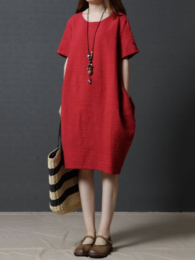 Red Cocoon Short Sleeve Casual Dress