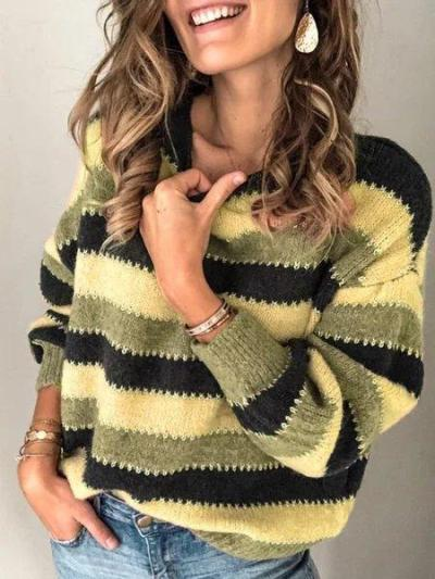 Color-Block Striped Long Sleeve Crew Neck Sweaters