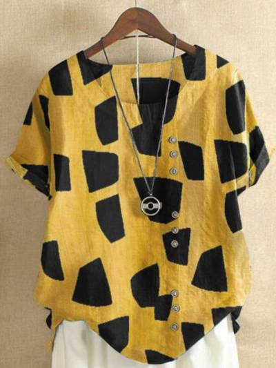 Buttoned Round Neck Vintage Shirts & Tops