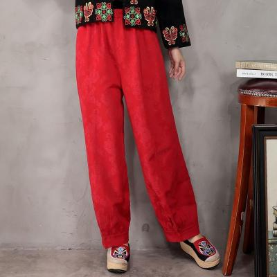 Spring Summer New Fashion Women's Plus Size Loose Cotton and Linen Solid Color Casual Pants