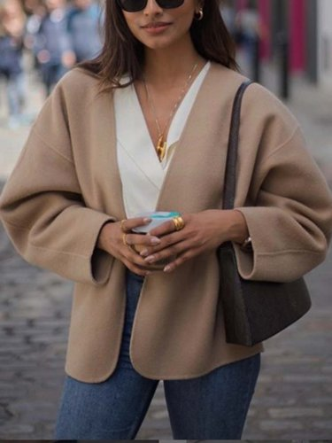 Khaki V Neck Long Sleeve Outerwear