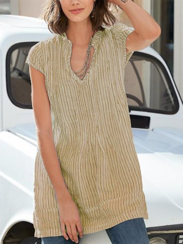 V neck Short Sleeve Casual Striped Blouse