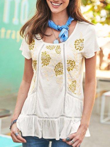 Women U-neck Short-sleeved Printed Casual Top