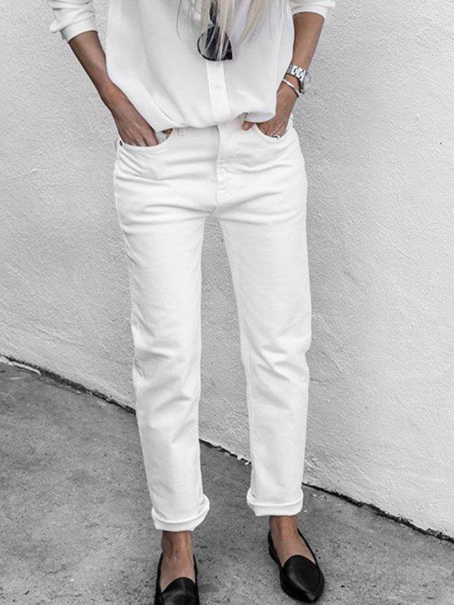 Cotton-Blend Solid Casual Pants