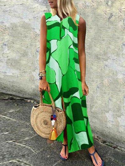 Green Columpio/de Oscilación V Neck Sleeveless Cutout Maxi Dress