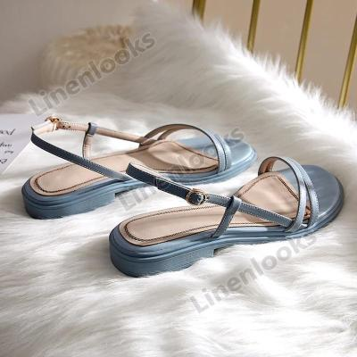 Pretty Girls Low Heels Slip on Women Sandals Low Heels Peep Round Toe Summer Vocation Shoes