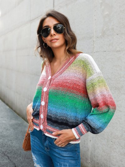 Ombre/tie-Dye Casual Shift Long Sleeve Outerwear