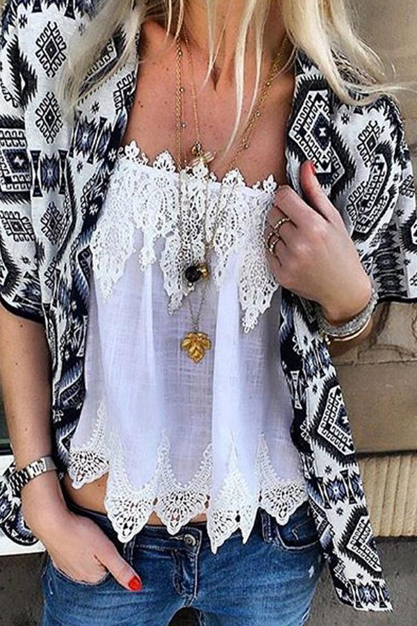 Bohemian Printed Short Sleeve Cardigan Lace Vest Suits