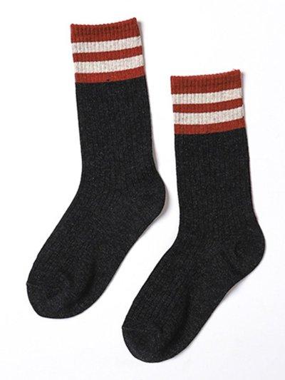Vintage Casual Stripes Breathable Warm Cotton Socks