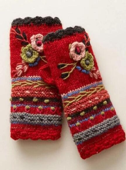 Orange Red Sexy Tribal Knitted Gloves & Mittens