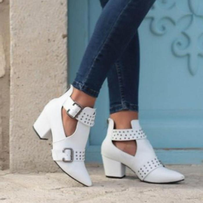 Zipper Chunky Heel Booties Ankle Pointed Toe Shoes