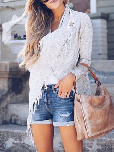 Women Fringed Casual Solid Long Sleeve Cardigan