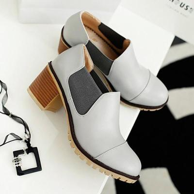 Women PU Booties Casual Comfort Chunky Heel Shoes