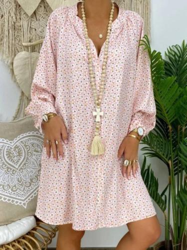 Long Sleeve Floral-Print V Neck Dresses