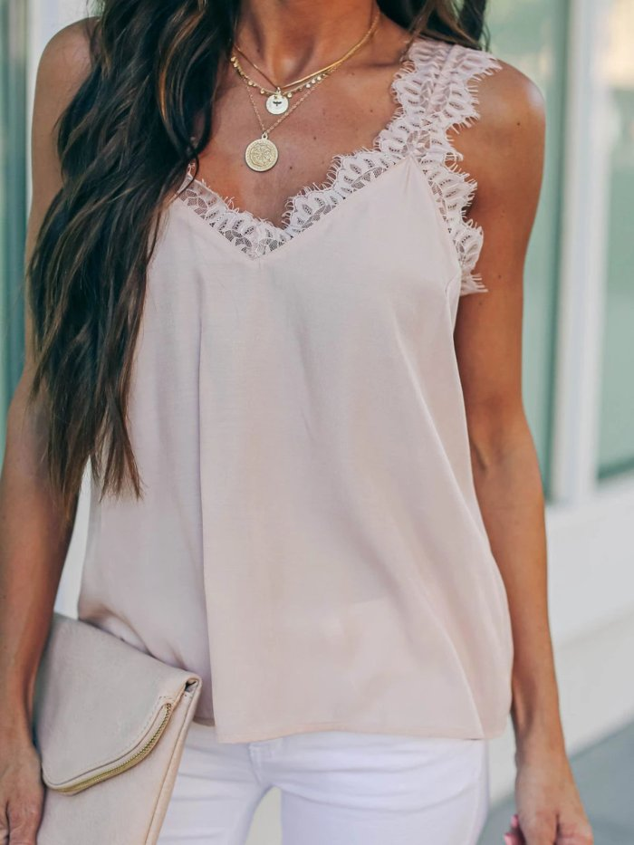 Guipure Lace Solid Sleeveless Sexy Shirts & Tops