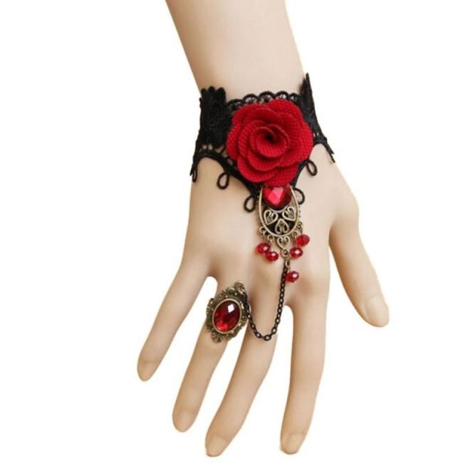 Retro Metal bracelet Lace Red Rose Gloves Fashion Floral Women Mittens
