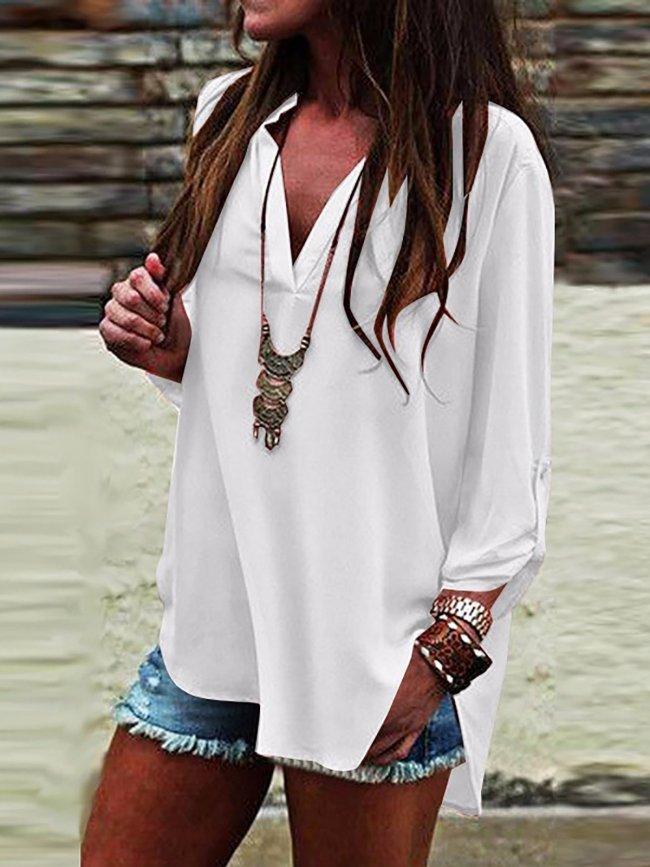 Women V neck Slit Long Sleeve Blouse