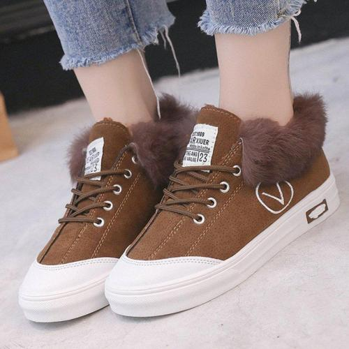 Daily Artificial Nubuck Flat Heel Flats Women Casual Fur Sneakers Athletic Shoes