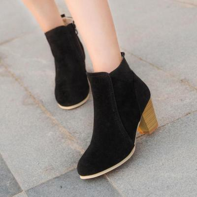 Round Toe Black Women's Ankle Slip-On Suede Boots