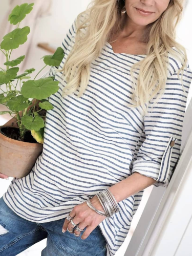 Striped Crew Neck Long Sleeve Shirts & Tops