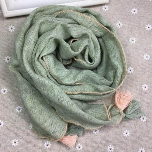 New Autumn and Winter Cotton and Linen Wild Fringed Silk Scarf