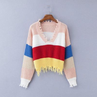 Oversized Sweater V-Neck Pullovers Casual Long Sleeve Knit Women Sweater Ugly Christmas Sweater Sexy Rainbow Sweater Plus Size