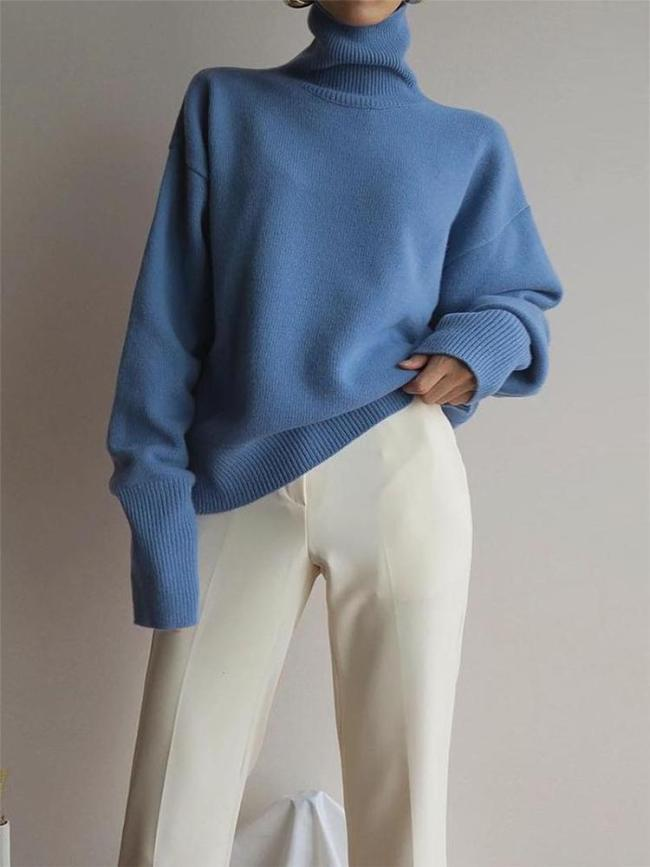 Sweet High Collar Pure Colour Sweater