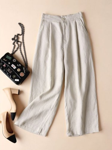 Plus Size Solid Casual Linen Loose Pants