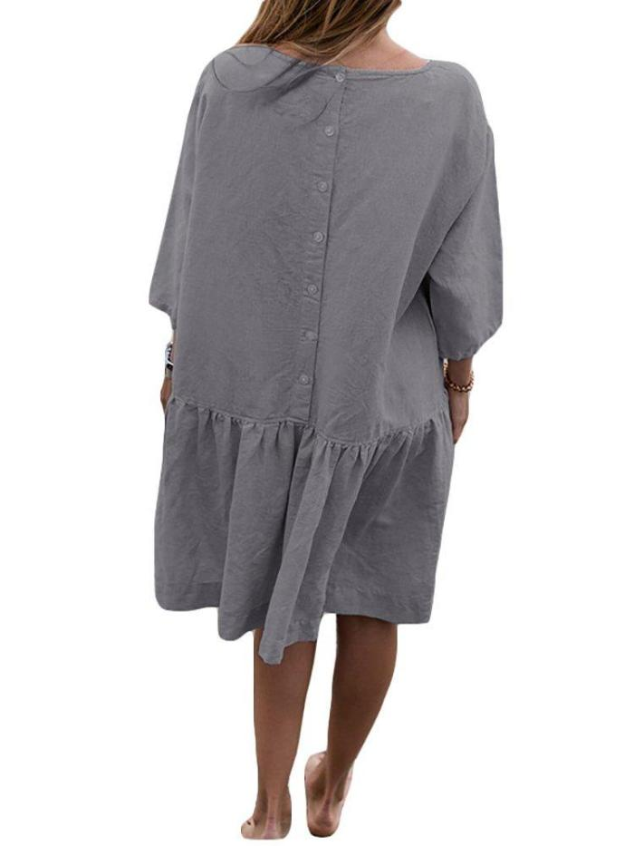 Casual 3/4 Sleeve Crew Neck Flounce Solid Dress