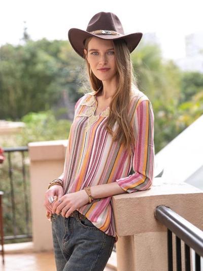Women Linen Striped 3/4 Sleeve Appliqued Shirts & Tops