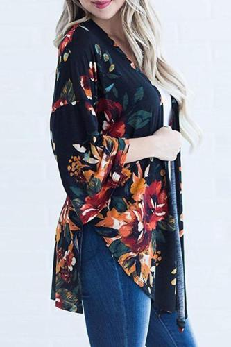 Floral Printed Flare Sleeve Cardigans