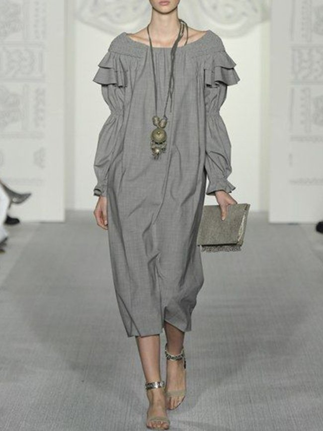 Light Gray Vintage Long Sleeve Cotton-Blend Dresses