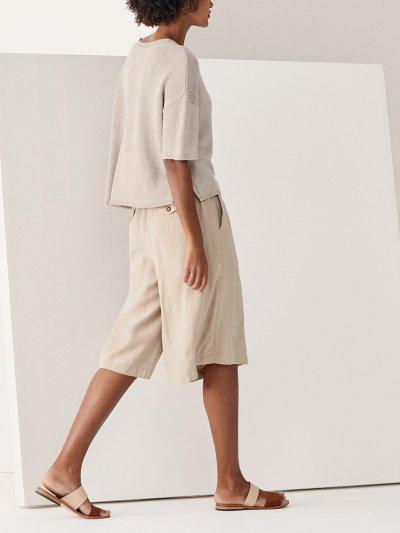 Casual Cotton-Blend Pockets Pants