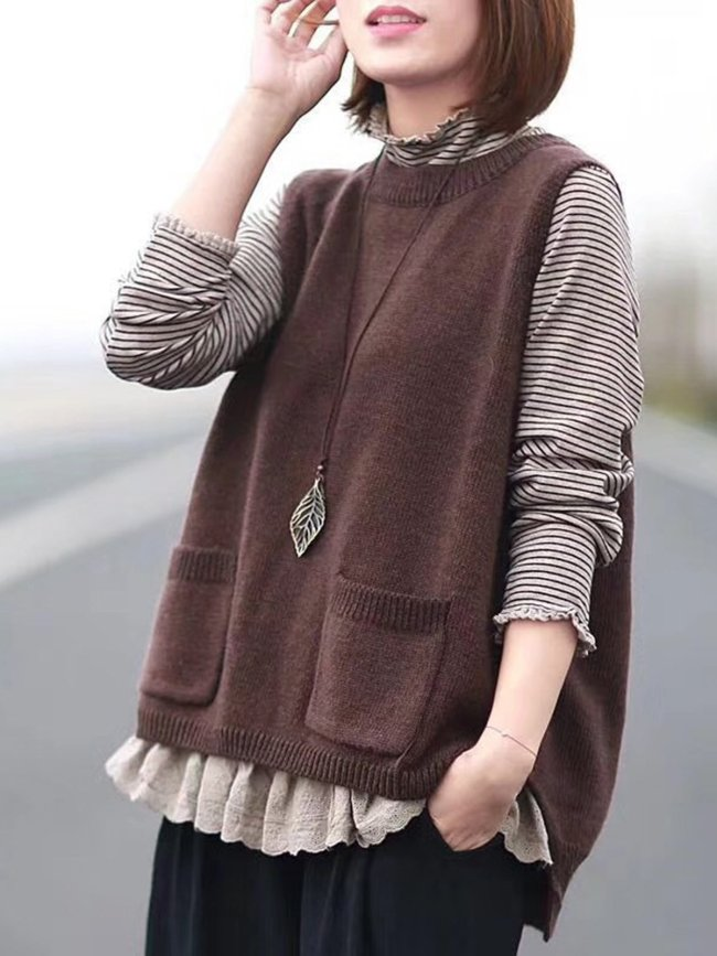 Coffee Casual Buttoned Tanks & Cami