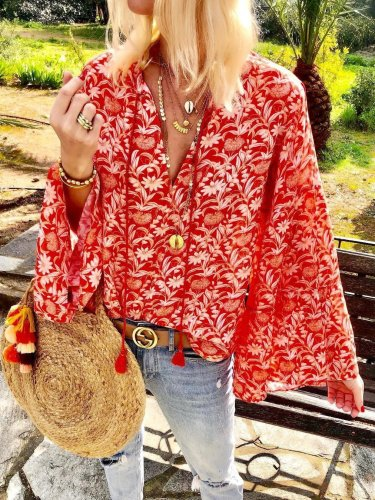 Red Floral V Neck Long Sleeve Casual Shirts & Tops